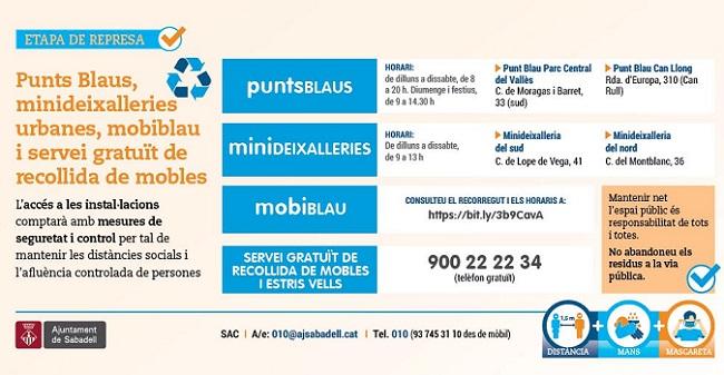 Punts Blaus, minideixalleries urbanes, mobiblau i servei gratuït de recollida de mobles