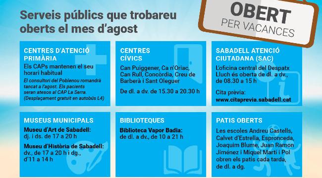 Serveis públics a l'agost: els CAP mantindran el seu horari habitual i sis centres cívics romandran oberts