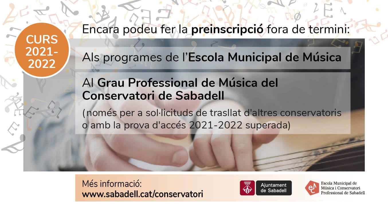 Encara és possible preinsciure's a l'Escola de Música i Conservatori