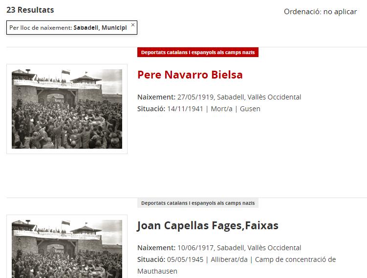 Base de dades de Deportats catalans i espanyols als camps nazis