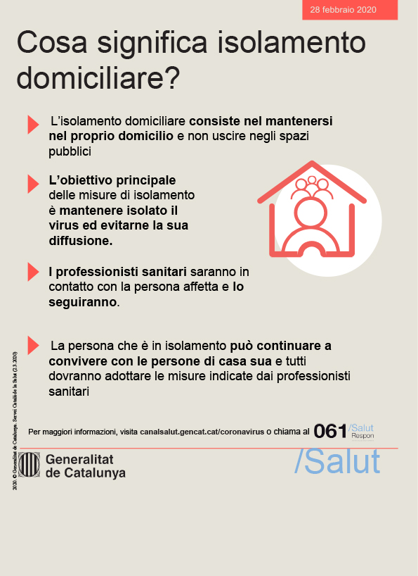 Cosa significa isolamento domiciliare?