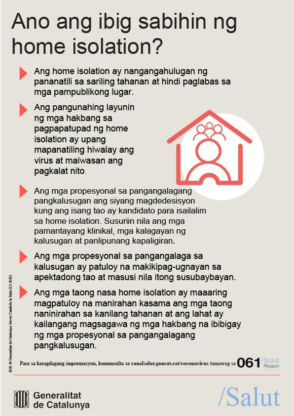 Ano ang ibig sabihin ng home isolation