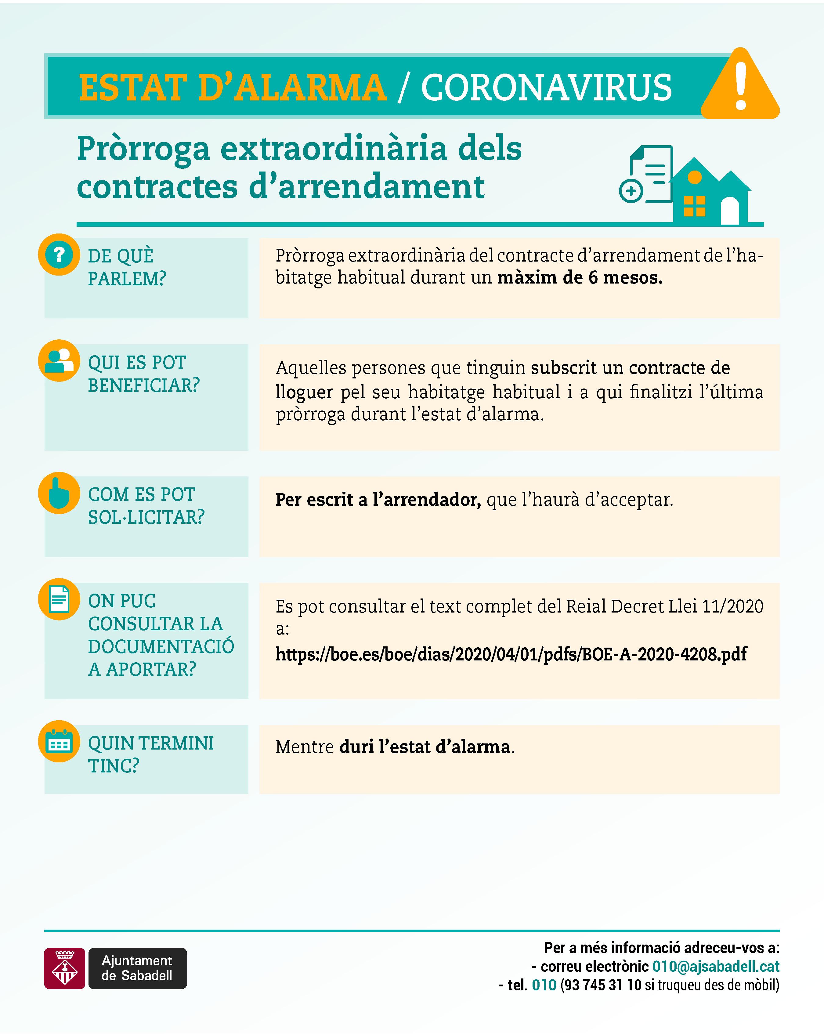 Pròrroga extraordinària dels contractes d'arrendament
