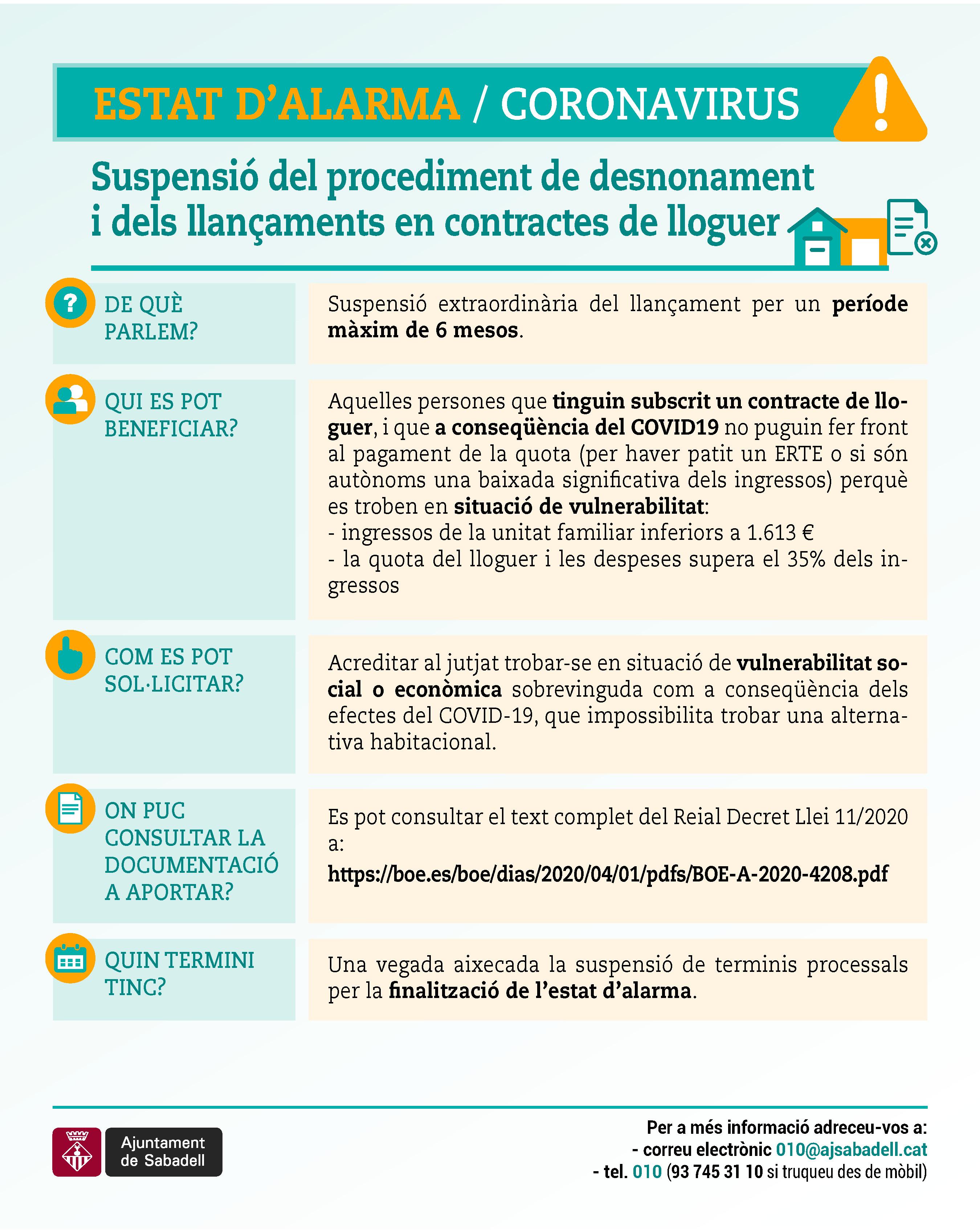 Suspensió del procediment de desnonament i dels llançaments en contractes de lloguer