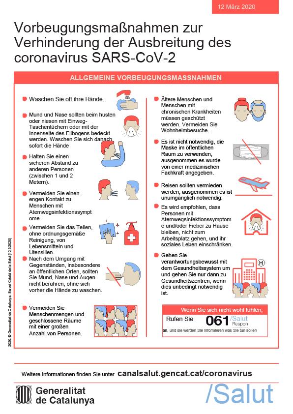Vorbeugungsmaßnahmen zur Verhinderung der Ausbreitung des Coronavirus SARS_COV-2
