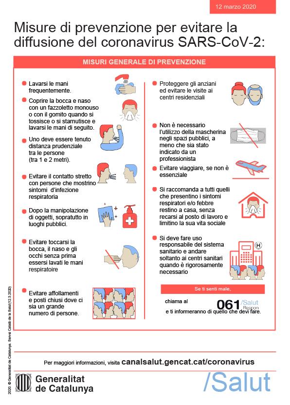 Misure di prevenzione per evitare la diffusione del coronavirus SARS_COV-2