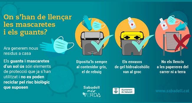 Campanya per conscienciar la ciutadania d'on cal llençar guants, mascaretes i envasos buits de gel hidroalcohòlic
