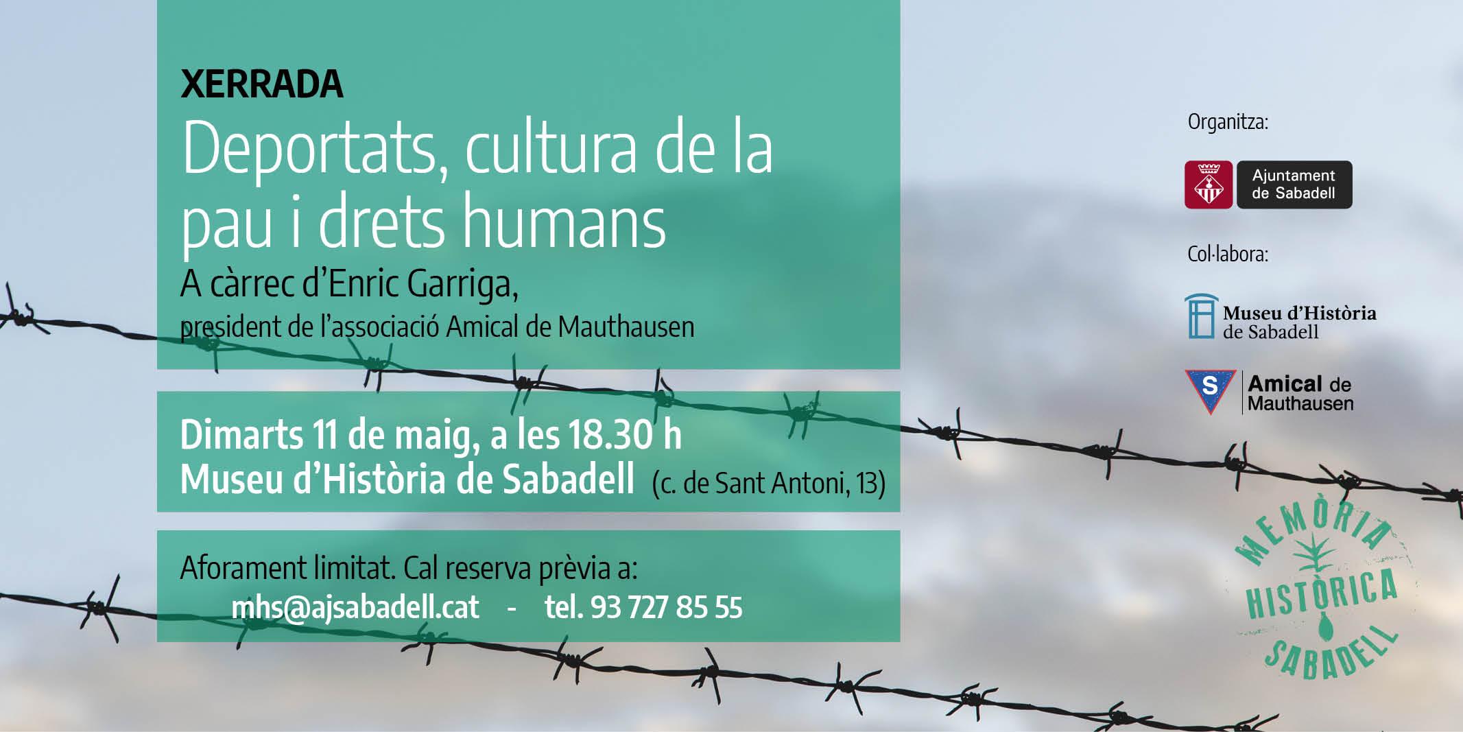 """L'Ajuntament organitza la xerrada """"Deportats, cultura de la pau i drets humans"""", en el marc del dia d'homenatge a les víctimes espanyoles del nazisme"""