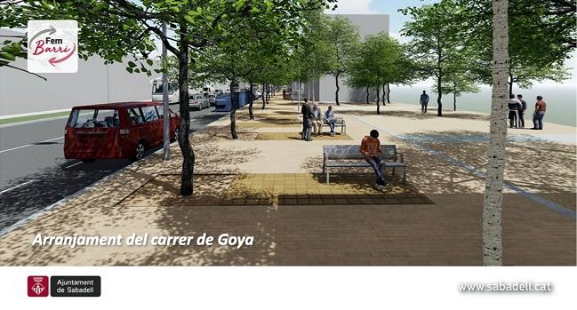 El paviment del carrer de Goya serà renovat i la via esdevindrà una petita rambla