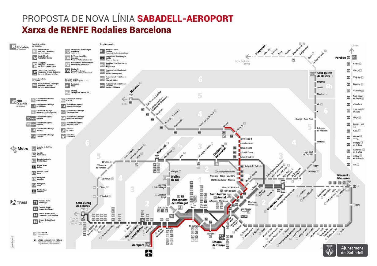 Sabadell sol·licita una connexió ferroviària directa entre el Vallès i l'Aeroport de Barcelona aprofitant el ramal de la R4 des de l'Hospitalet fins al Prat