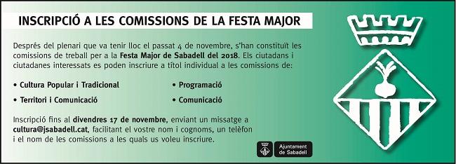 Comença l'organització de la Festa Major del 2018, amb la col·laboració de quatre comissions ciutadanes