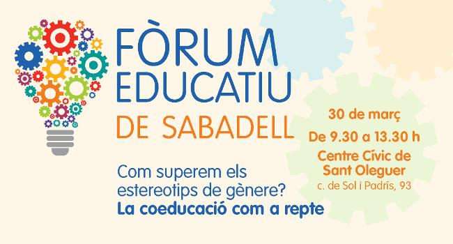 El Fòrum Educatiu de Sabadell debatrà sobre coeducació i sobre com deixar enrere els estereotips de gènere