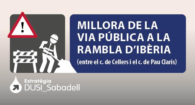 Comencen les obres d'arranjament de les voreres i allargament del carril bici de la rambla d'Ibèria fins a la plaça del Mil·lenari