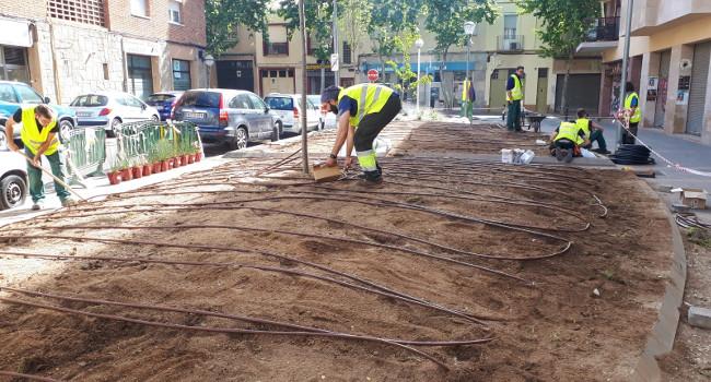 Els parterres del carrer de Francesc Bellapart s'enjardinen de nou