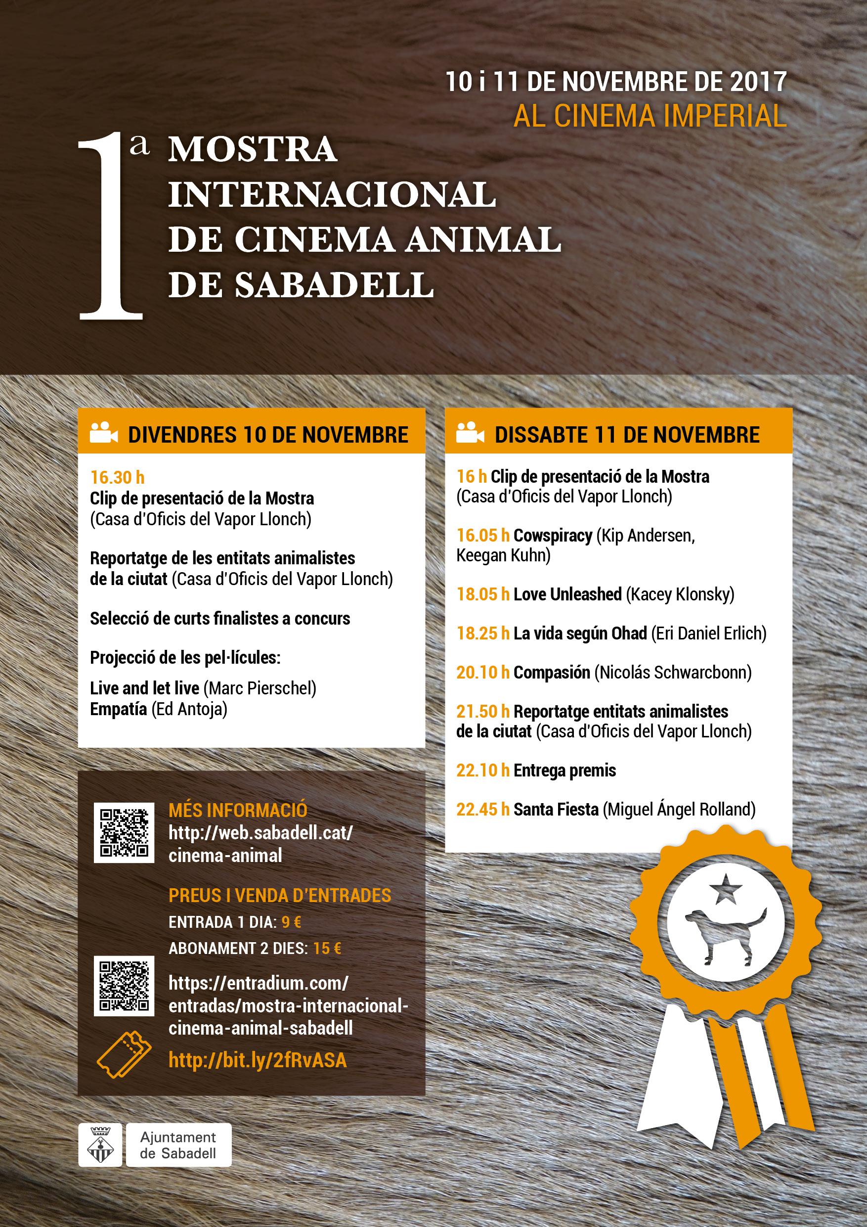 Ja estàn a la venda les entrades per a la 1ª Mostra Internacional de Cinema Animal de Sabadell