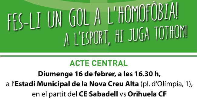 """La campanya """"Fes-li un gol a l'Homofòbia!"""" fa una crida a erradicar qualsevol discriminació homòfoba en l'esport"""