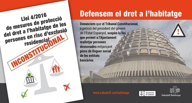L'Estat prohibeix garantir el dret a l'habitatge als municipis de Catalunya