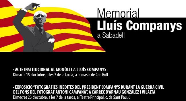 Avui, 15 d'octubre, Sabadell homenatjarà Lluís Companys i les altres víctimes del franquisme