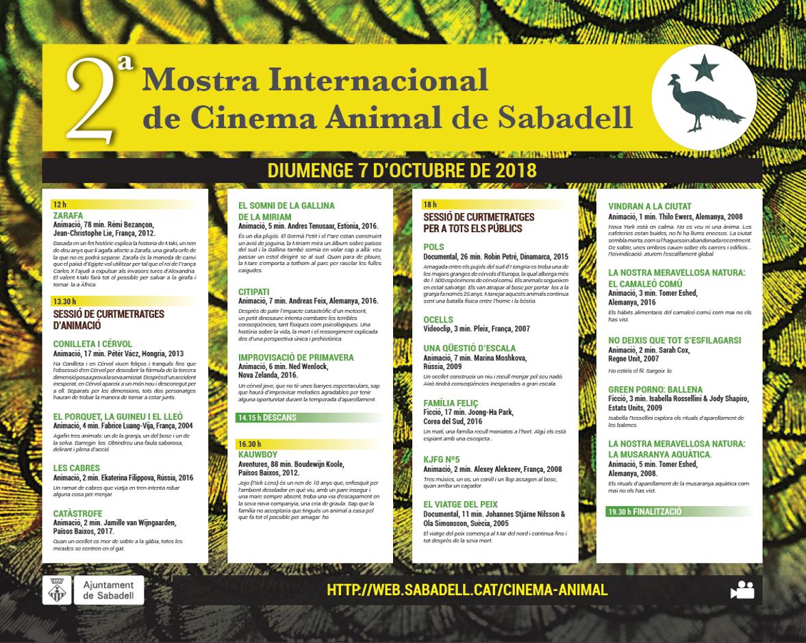 Del 2 al 7 d'octubre, 2ª Mostra de Cinema Animal