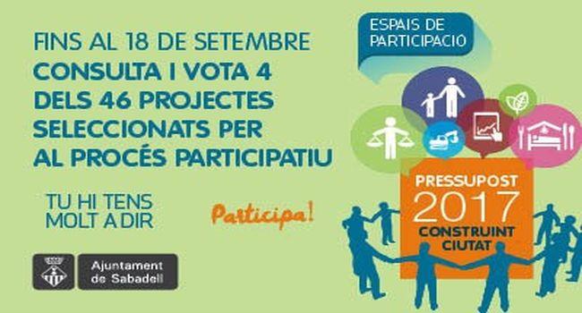 Ja es poden consultar al web els 46 projectes seleccionats per al procés participatiu del pressupost del 2017