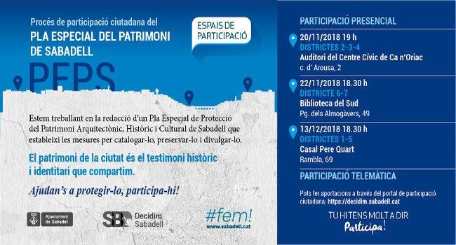 L'Ajuntament organitza tres sessions per explicar a la ciutadania el nou Pla especial de patrimoni