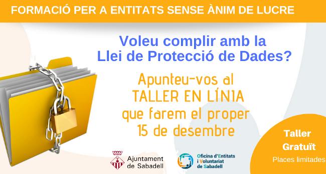 Obertes les inscripcions al taller en línia per a entitats sobre la Llei de Protecció de Dades Personals
