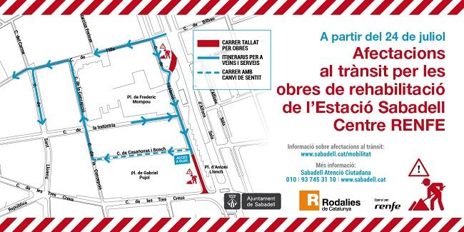 Canvis de circulació a causa de les obres de reforma a l'estació de Sabadell Centre