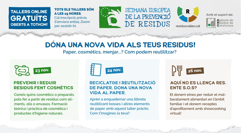 Tallers per reaprofitar paper, cosmètics i menjar, en el marc de la Setmana Europea de de la Prevenció de Residus