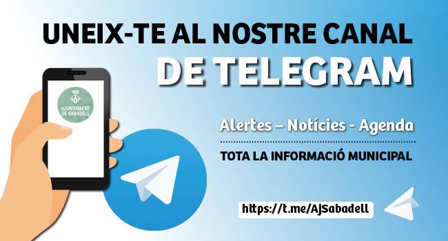 L'Ajuntament de Sabadell obre un canal de Telegram per oferir informació a la ciutadania, amb motiu del coronavirus