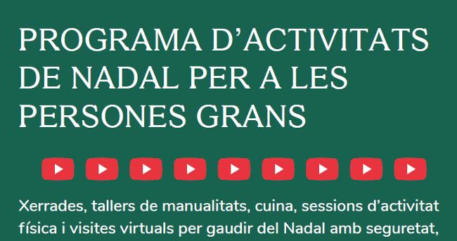 Les activitats de Nadal per a les persones grans es podran seguir pel seu canal de Youtube