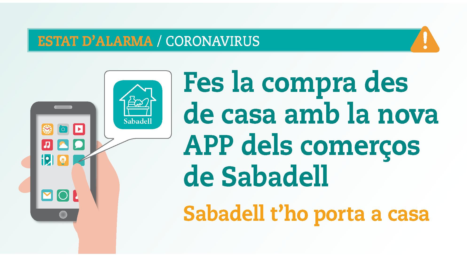 """Sabadell impulsa l'APP """"Sabadell t'ho porta a casa"""" per donar a conèixer a la ciutadania els comerços que ofereixen servei a domicili"""
