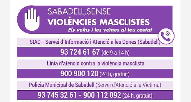 Campanya conjunta de l'Ajuntament de Sabadell i les associacions veïnals per combatre les situacions de violència masclista