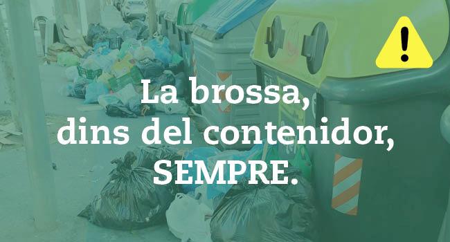 COVID19: Crida a dipositar les escombraries als contenidors per evitar problemes de salubritat