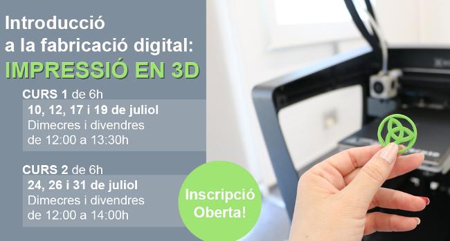 Nous cursos d'Introducció a la fabricació digital: Impressió en 3D