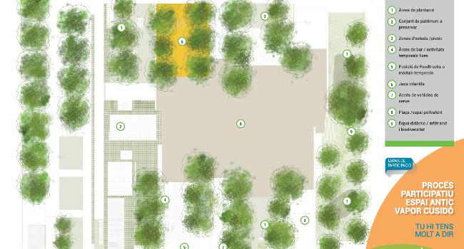 L'espai del Vapor Cusidó serà un nou parc urbà amb verd, aigua i zones de lleure, tot posant en valor el seu passat industrial