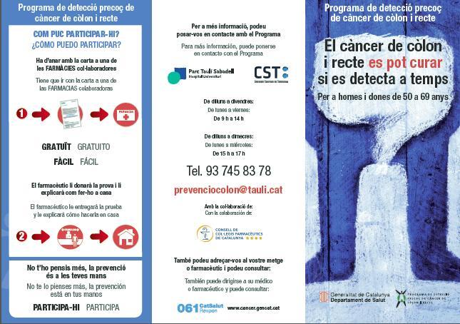 El programa de detecció precoç de càncer de còlon i recte arriba a la Creu Alta i Can Puiggener