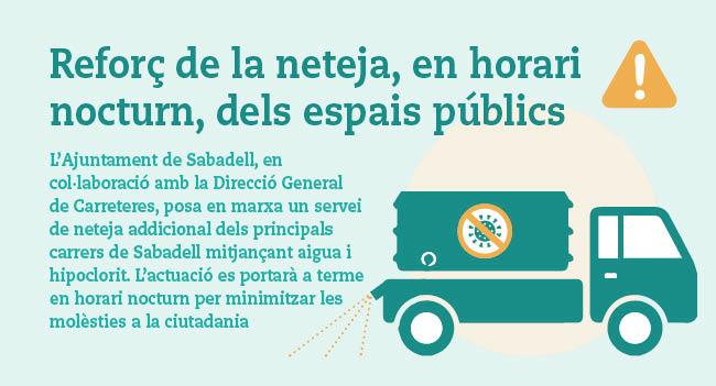 Avui es posa en marxa un nou servei de desinfecció addicional dels principals carrers de Sabadell amb una solució d'aigua i hipoclorit