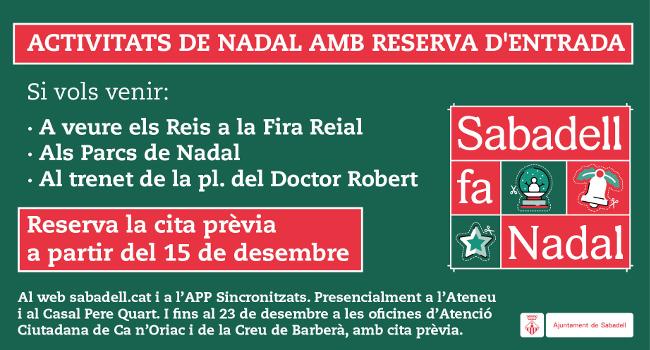 La reserva de cita prèvia per a les activitats de Nadal es podrà fer a partir del 15 de desembre