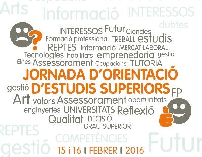 La Jornada d'Orientació d'Estudis Superiors del 15 i 16 de febrer oferirà informació sobre 125 titulacions