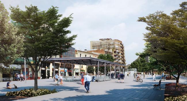 La nova ordenació del passeig de la Plaça Major recupera els arbres i incorpora una zona d'ombra i un espai d'aigua
