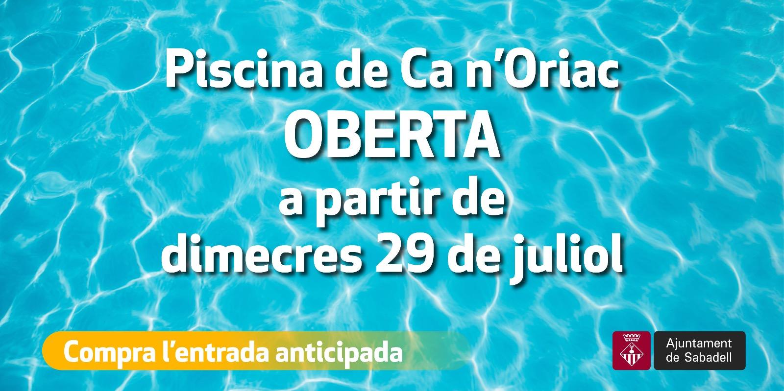 La piscina municipal de Ca n'Oriac obre demà dimecres