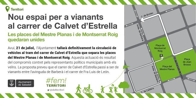 Les places del Mestre Planas i de Montserrat Roig quedaran unides