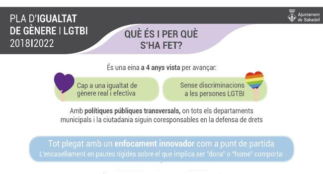 El nou Pla d'Igualtat de Gènere incorpora polítiques d'igualtat i de respecte a la diversitat sexual i afectiva