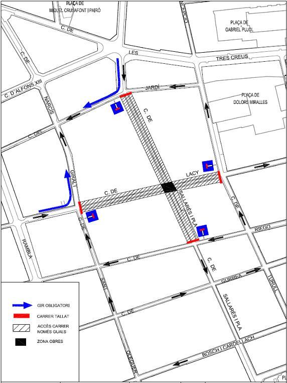 Tall de trànsit als carrers de Lacy i de Sallarès i Pla, del 24 al 29 de febrer, per obres a la xarxa de subministrament elèctric