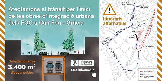 Demà començaran els treballs per al soterrament de les vies dels FGC i el nou espai públic que unirà Can Feu i Gràcia