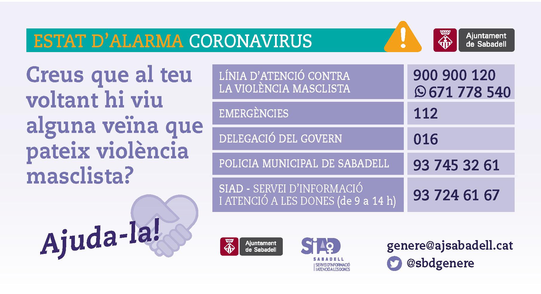 L'Ajuntament continua impulsant mesures contra la violència masclista mentre la població resta a casa a causa de l'Estat d'Alarma