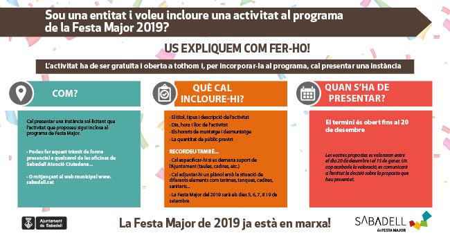 Les entitats que vulguin incloure activitats al programa de Festa Major del 2019 ja ho poden demanar